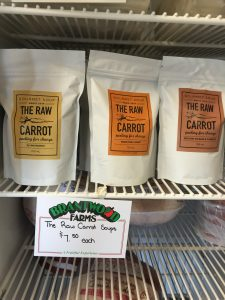 Soup from The Raw Carrot in the Brantwood Farms freezer!